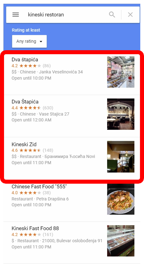 Google Maps search